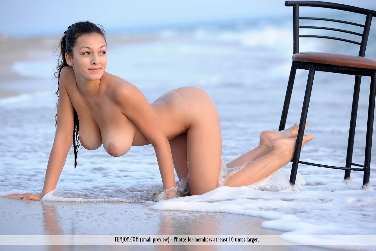 Busty Brute Nude On Beach